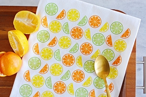 Monogrammed Flour Sack Kitchen Towel - Citrus