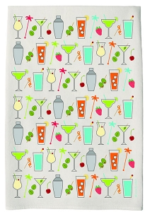Monogrammed Flour Sack Kitchen Towel - Cocktails