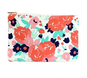 Monogrammed Floral Zip Pouch