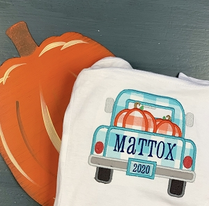 Truck with Pumpkins Applique for Kids