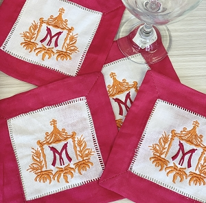 Set of 4 Linen Pink Trim Cocktail Napkins with Pagoda Monogram