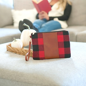 Monogrammed Wristlet - Red Buffalo Check