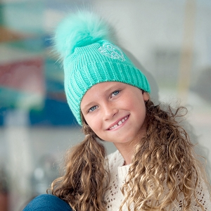 Girls' Monogrammed Winter Hat - Mint