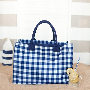 Monogrammed Tote - Navy Check