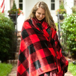 Monogrammed Blanket - Red Buffalo Check