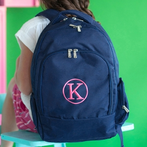 Monogrammed Backpack - Navy