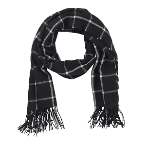 Adaline Scarf - Black Plaid