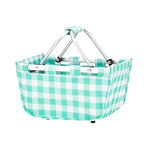 Monogrammed MINI Market Tote (Mint Check)
