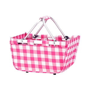 Monogrammed MINI Market Tote (Pink Check)