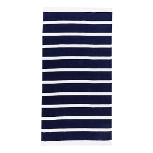 Monogrammed Beach Towel (Navy Stripe)