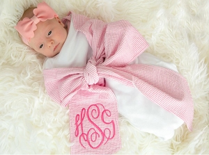 Seersucker Swaddle with Sash (Pink)