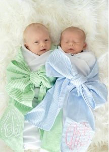 Seersucker Swaddle with Sash (Blue)