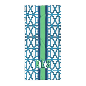 Monogrammed Beach Towel - Bamboo Blue