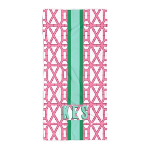 Monogrammed Beach Towel - Bamboo Pink