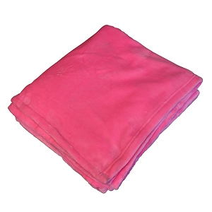 Monogrammed Fleece Flannel Blanket - Hot Pink