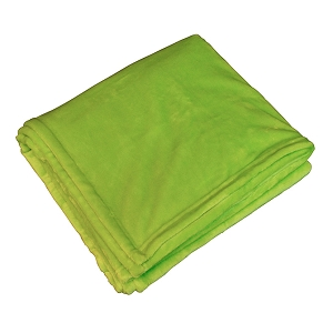 Monogrammed Fleece Flannel Blanket - Lime