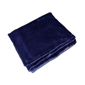 Monogrammed Fleece Flannel Blanket - Navy