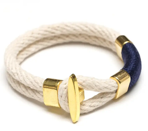 Cambridge Bracelet (Ivory/Navy/Gold)