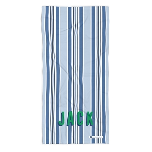 Monogrammed Beach Towel - Capri Stripe Blue