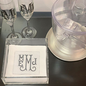 Set of 4 Linen Cocktail Napkins with Standard Monogram