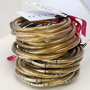 Noiseless Bangle Bracelets in Glitter Gold