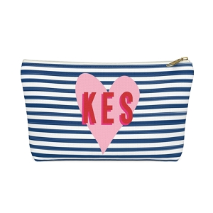 Stripes & Heart Zip Pouch (More options available)