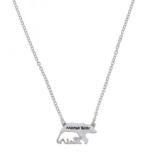 Mama Bear Necklace - Worn Silver or Worn Gold