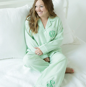 Monogrammed Seersucker Pajama Set - More Colors Available