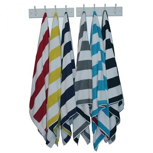 Reversible Striped Beach Towel with Monogram - 3 Colors Available