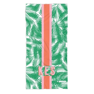 Monogrammed Beach Towel - Palm Leaves Green