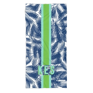 Monogrammed Beach Towel - Palm Leaves Navy