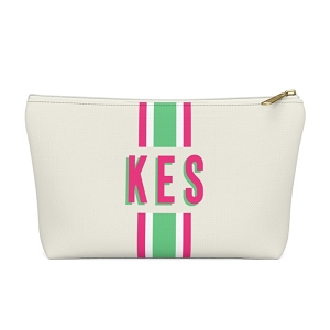 Stripe Natural Zip Pouch (More options available)
