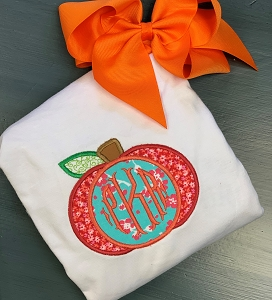 Floral Fabric Monogram Pumpkin