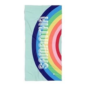 Monogrammed Beach Towel - Rainbow