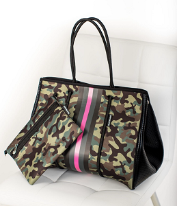 Prene Love Large Neoprene Tote - Pink Army