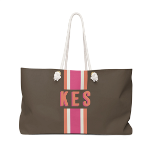 Stripe Brown/Hot Pink Travel Tote