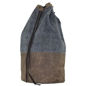 Monogrammed Waxed Canvas Two Toned Laundry Duffel in Slate