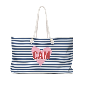 Stripes and Heart Travel Tote