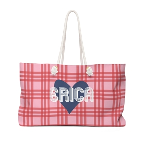 Plaid and Heart Travel Tote