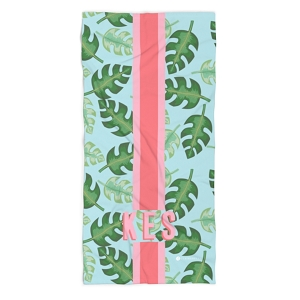 Monogrammed Beach Towel - Tropical Blue