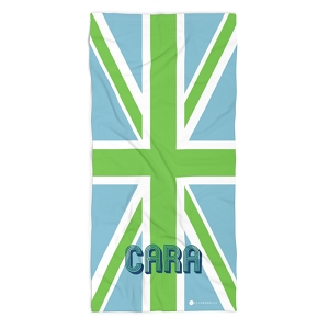 Monogrammed Beach Towel - Union Jack Blue