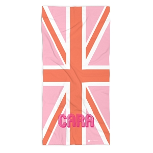 Monogrammed Beach Towel - Union Jack Pink
