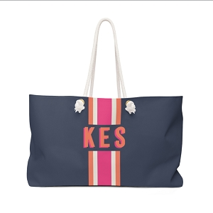 Stripe Navy/Hot Pink Travel Tote
