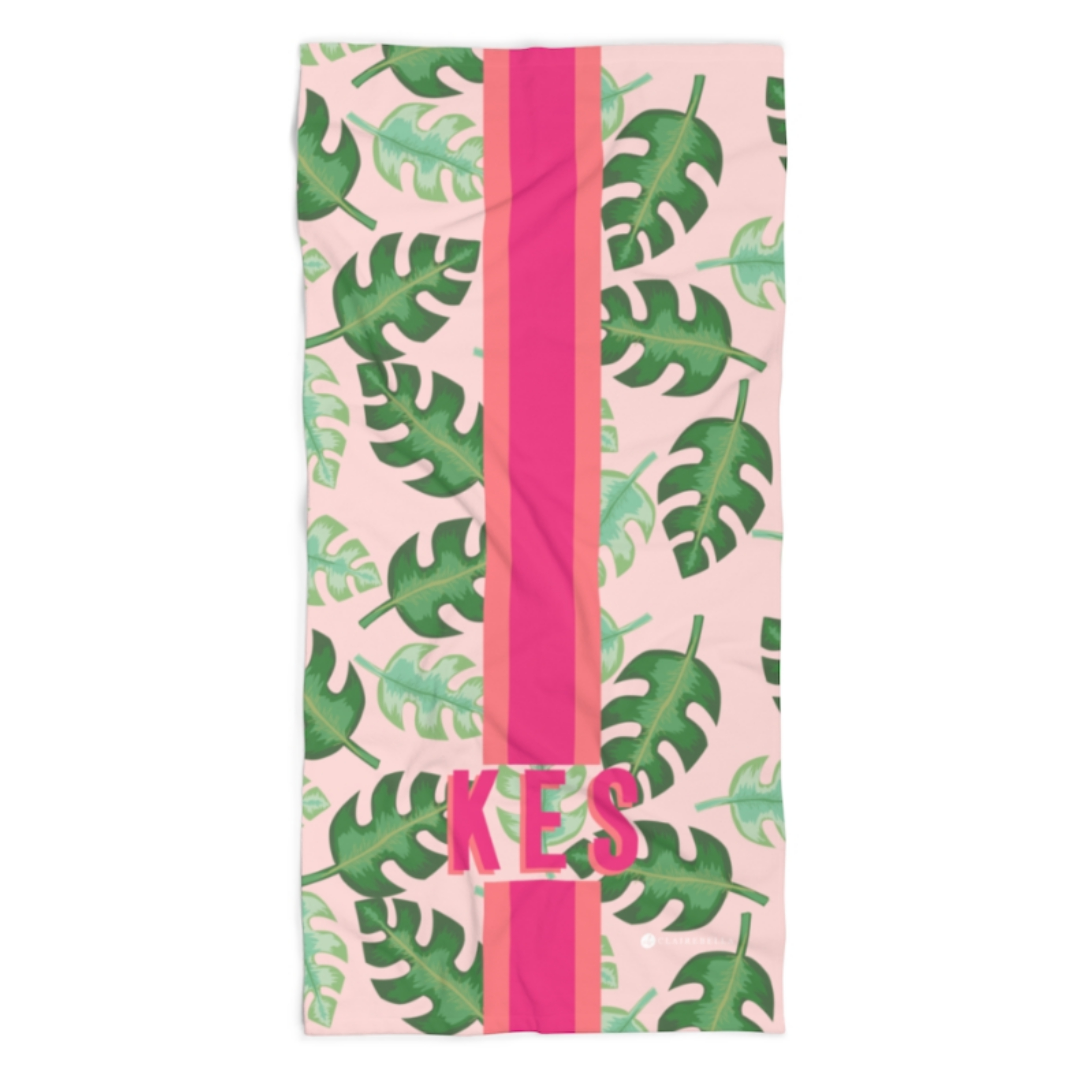 Monogrammed Beach Towel - Tropical Pink