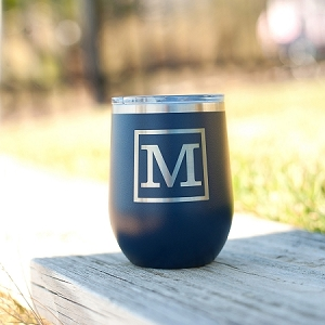 Engraved Insulated Wine Tumbler - Classic Initial