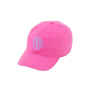 Monogrammed Cap for Kids - Hot Pink