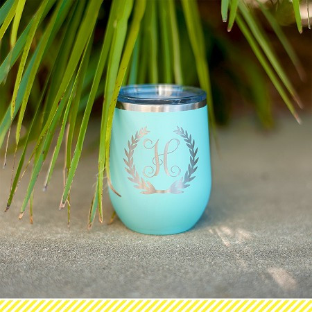 Engraved Insulated Wine Tumbler - Initial with Wreath