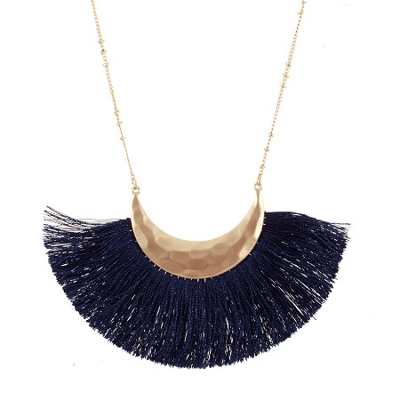 Navy Fringe Necklace