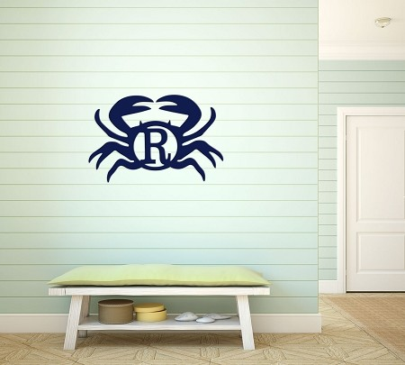 Painted Wooden Crab with Single Initial Wall Decor