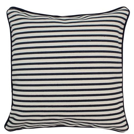 Monogrammed 12'x12' Canvas Pillow in Navy Stripe